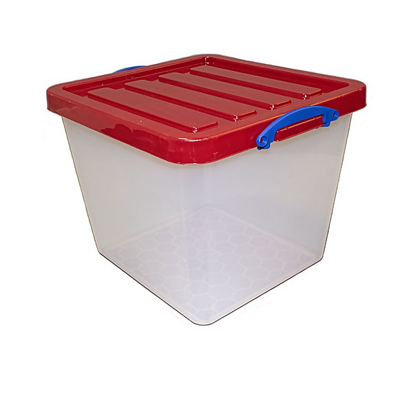 Really Useful Storage Box - 60L - Clear with Red Lid