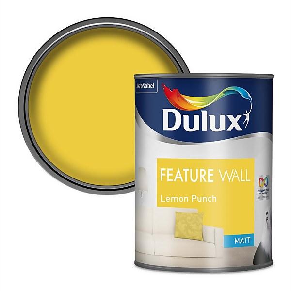 Dulux Feature Wall Lemon Punch - Matt Emulsion Paint - 1.25L