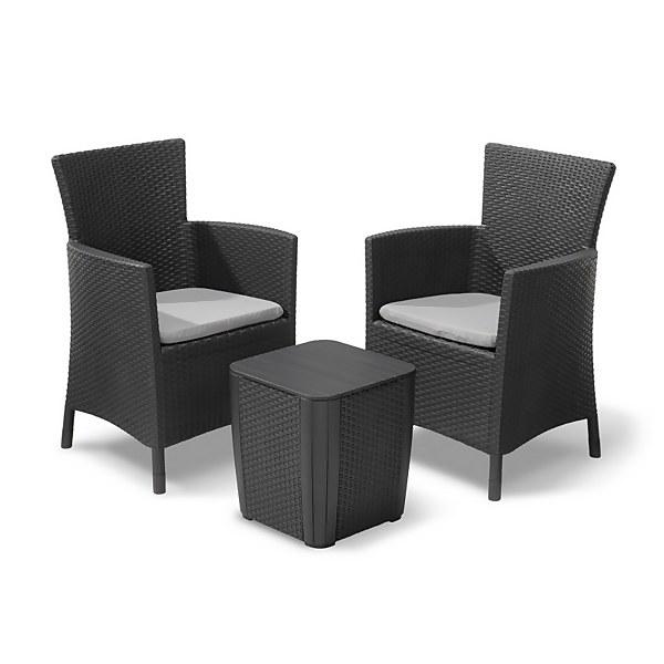 Keter Iowa Rattan Balcony Outdoor Garden Furniture Set - Graphite with Grey Cushions