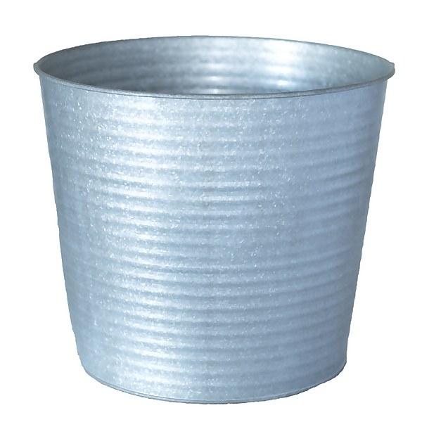Haxbury Ribbed Round Pot - Galvanised - 26cm
