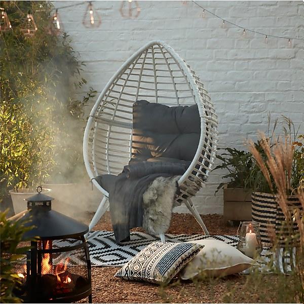 Rattan Pod Egg Chair - White