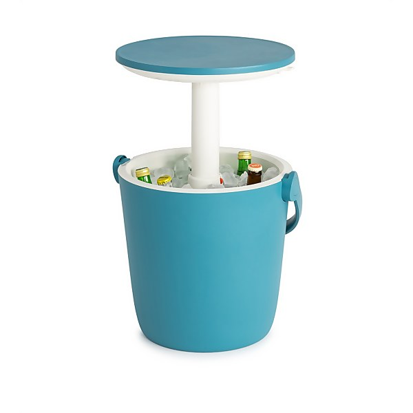Keter Go Bar Plastic Outdoor Ice Cooler Table Garden Furniture - Blue / White
