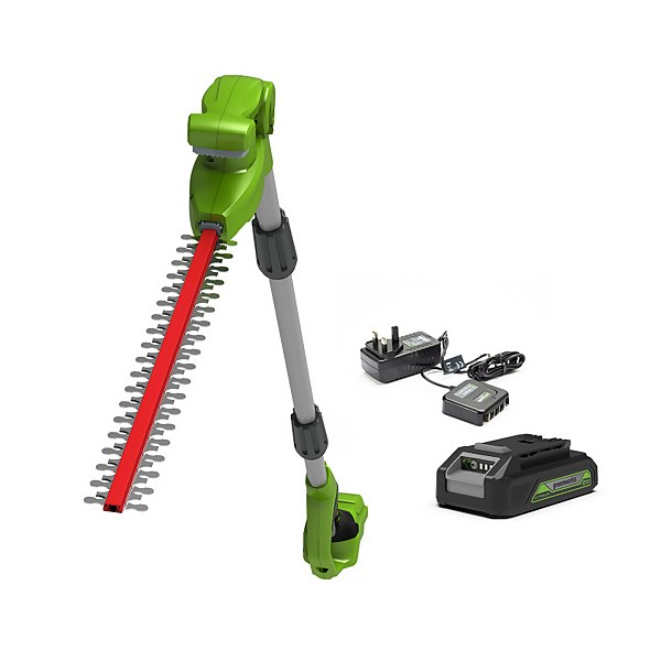 Greenworks 24V Long Reach Hedgetrimmer With Battery