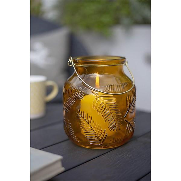 Lifestyle Yellow Glass Garden Lantern