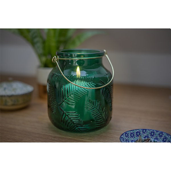 Lifestyle Green Glass Garden Lantern