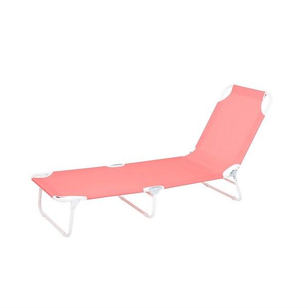 Homebase Bahari Folding Sunbed Lounger - Pink