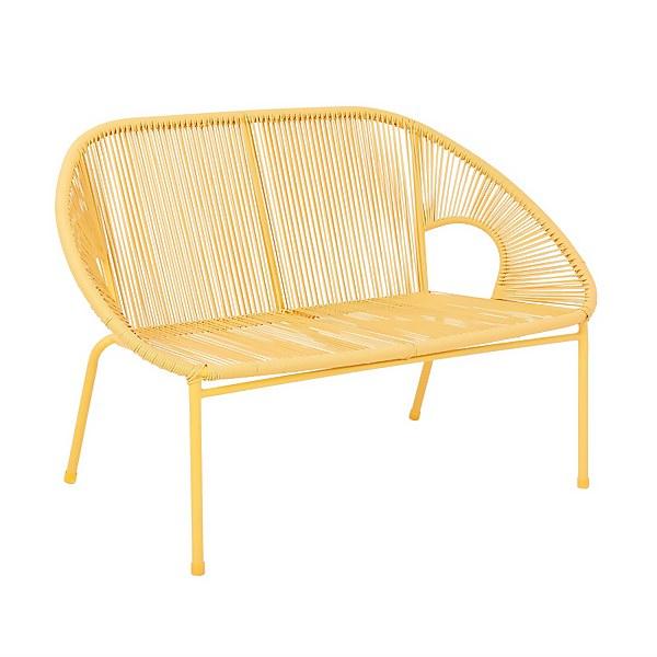 Homebase Acapulco 2 Seater Garden Bench - Yellow
