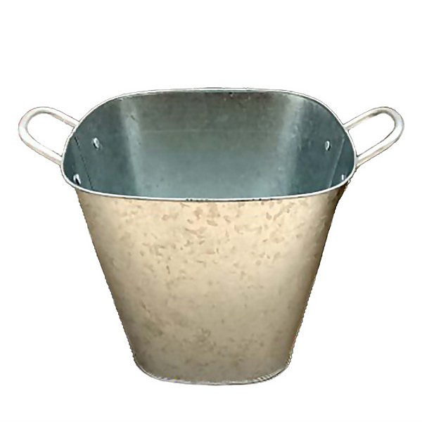 Square Pot Galvanised - 20cm