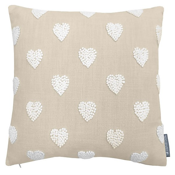 Country Living French Knot Heart Cushion - 40x40cm - Ivory