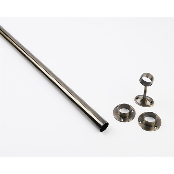 Hanging Rail Kit - 25mm 6ft Antique Brass Rail Sockets Pack