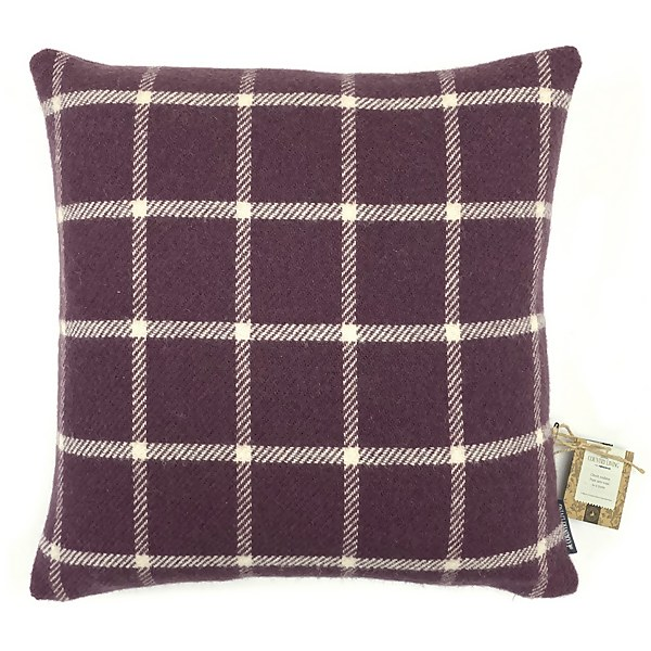Country Living Wool Check Cushion - 50x50cm - Grape