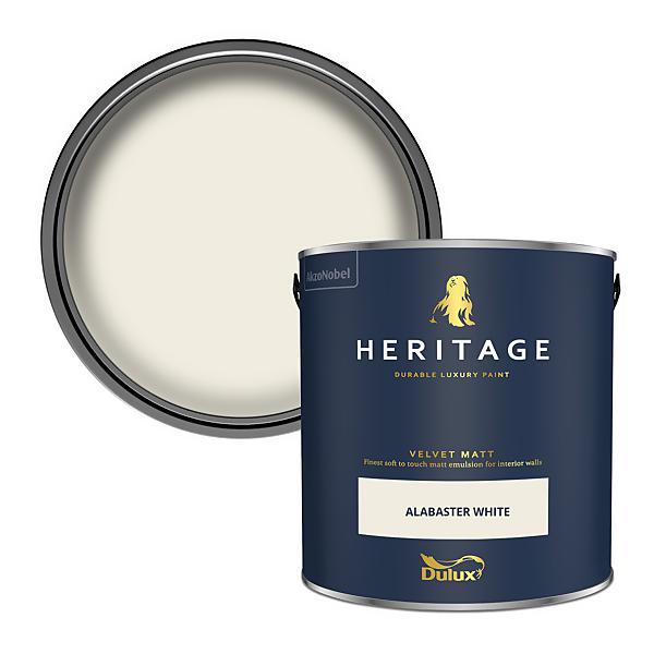 Dulux Heritage Matt Emulsion Paint - Alabaster White - 2.5L