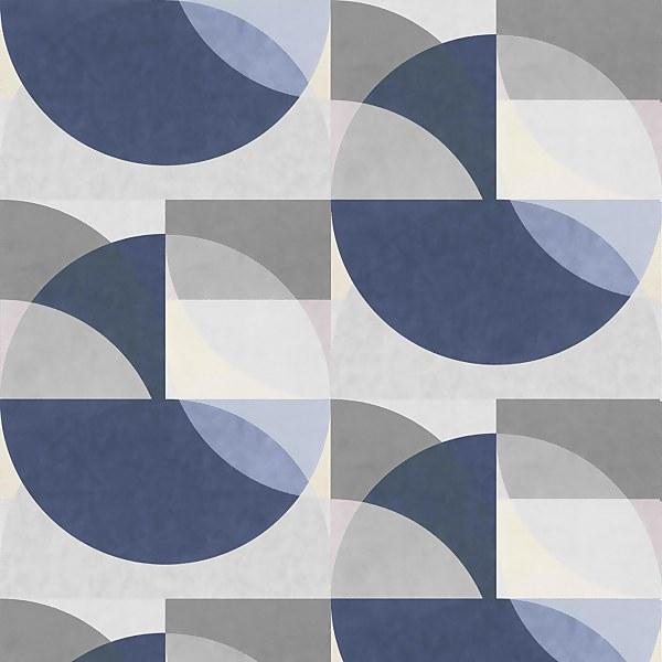 Elle Decoration Geometric Blue Grey Cream Wallpaper