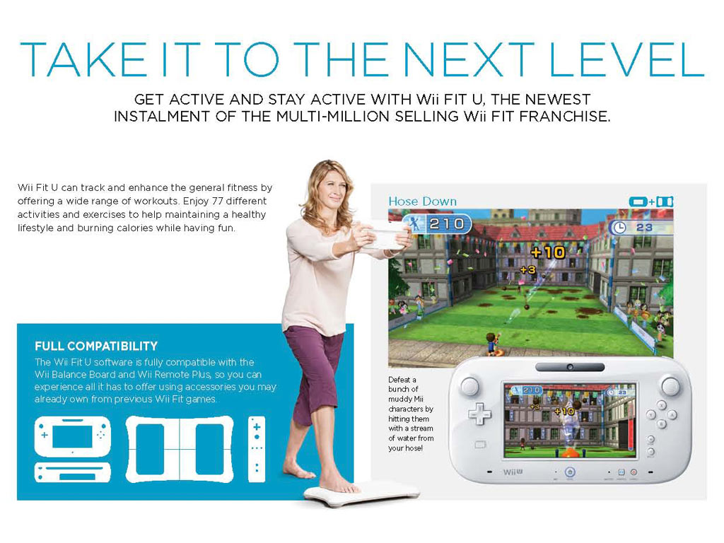 Wii Fit U + Balance Board (White) + Fit Meter (Green ...