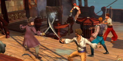 A pirate and a frenchman in combat with swords