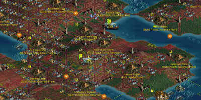 A heavily-populated game map