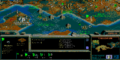 A view of a map, zoomed out very far, showing how pixel-based the game can become