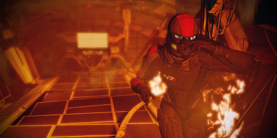 A soldier running through an extremely hot, collapsing part of a spaceship