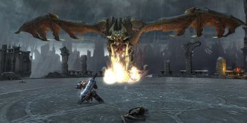 A dragon bearing down a wall of fire upon the player, in a 'boss fight