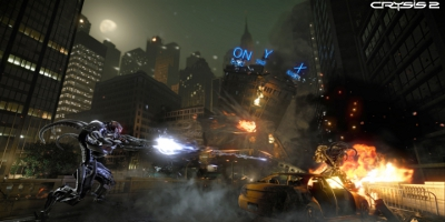 The player's character, firing at enemies in a city environment