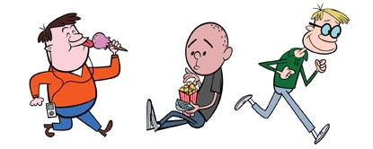 Cartoon Pictures Of Ricky Gervais, Karl Pilkington And Stephen Merchant