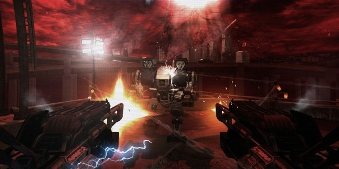 The player firing at enemies with dual-wielded weapons