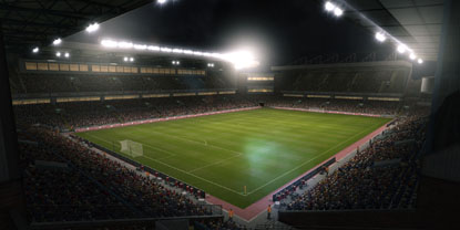 A view of a stadium at night