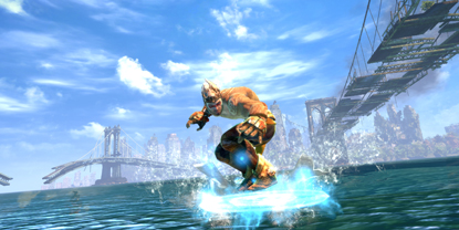 The player's character, surfing across water, with a city in the background