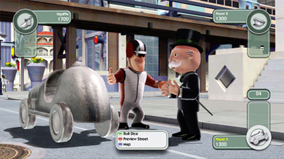 The player's character, negotiating whether to buy a street or not