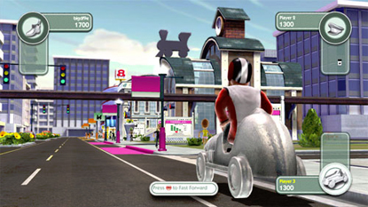 The player's character, moving from one location to another