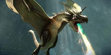 A dragon in flight, breathing fire