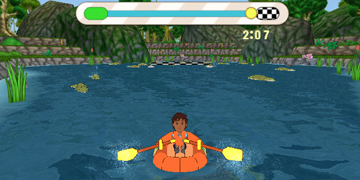 The player, near the end of a course involving rowing a boat