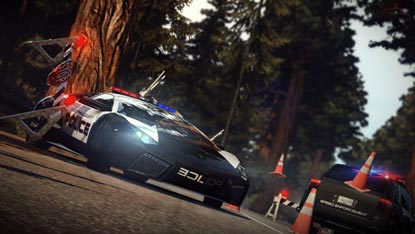 A Lamborghini Aventador, painted like a police car, sliding past an officer's car