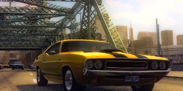 A yellow muscle car, charging across a bridge
