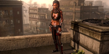 A female character, stood on a rooftop
