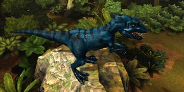 A smaller, blue, carnivorous dinosaur