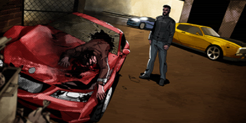 A red car, crashed into a wall in a cutscene