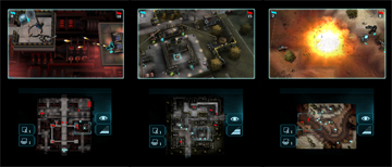 Three small screenshots, giving examples of gameplay