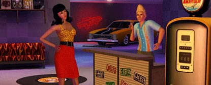 A female sim, talking to a male sim at a counter