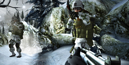 The player, face-to-face with two soldiers