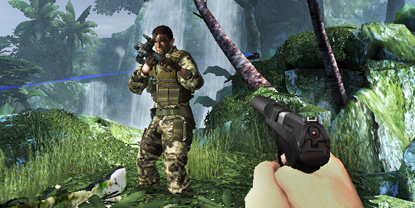 The player, discovering a soldier in a jungle environment