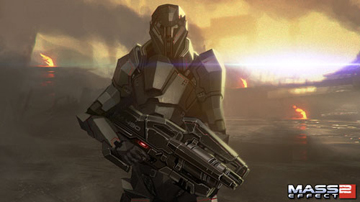 A robot-like soldier, holding a complex-looking weapon