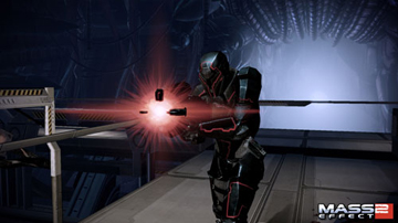 A robot-like soldier, firing a red light out of a weapon