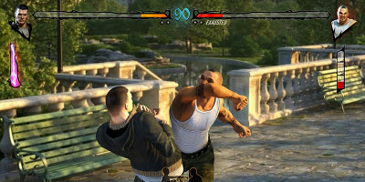 Two men fighting in a street environment