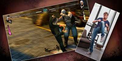 A game screenshot, with a picture of a man using the kinect system