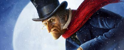 Close Up Of Scrooge In The Snow With The Moon Behind Him