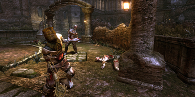 Two zombies approaching the player in a courtyard