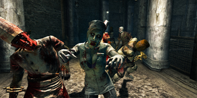 A group of zombies walking slowly towards the player