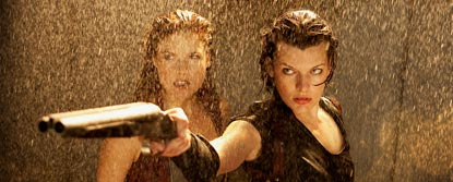 Alice Aiming A Gun With Claire Redfield Behind Her In The Rain