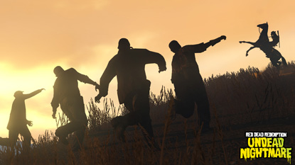 A group of zombie's silhouettes wandering over a hill